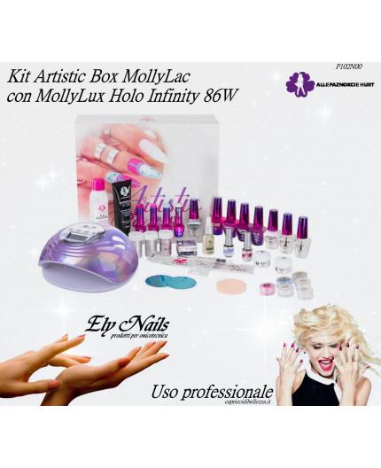 Kit Artistic Box MollyLac - con Lampada Led MollyLux Holo Infinity 86 W - Allepaznokcie